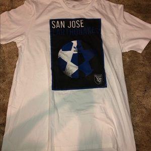 Adidas San Jose Earthquake White And Blue Shirt L